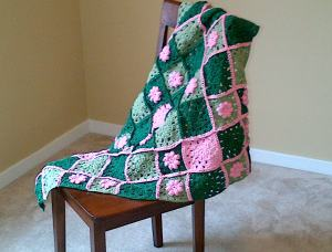 pink green throw 1