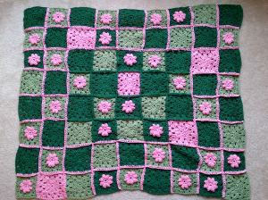 pink green throw